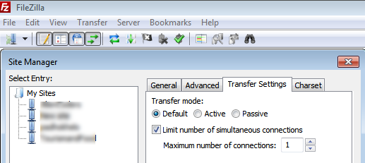 How to limit number of connections to 1 in filezilla to make FTP work for file transfer