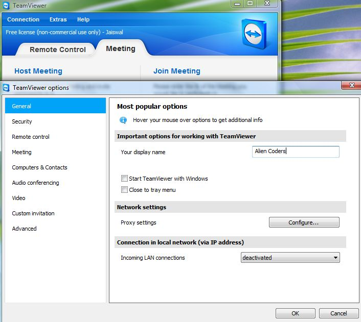 TeamViewer Custom Options