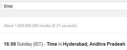 time search result