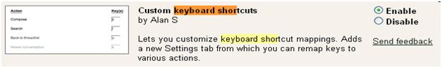 Custom keyboard shortcuts for gmail