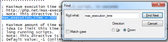 php.ini-max_execution_time settings
