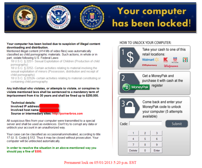 ransomware by FBI fake page