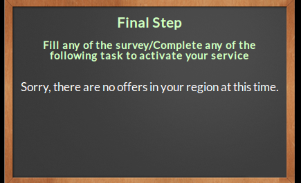 survey final step showing sorry message but already spammed 10 another