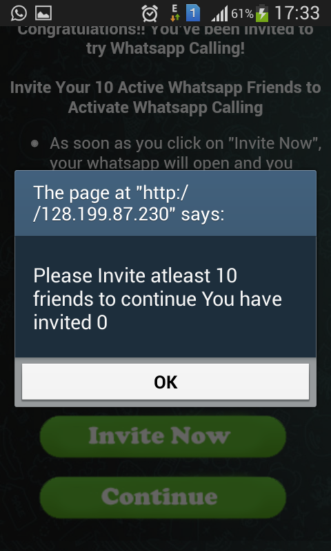 whatsappvoiceplus site is telling to send this message to 10 more friends spam