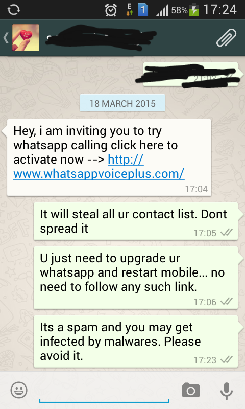 whatsappvoiceplus spam message screenshot