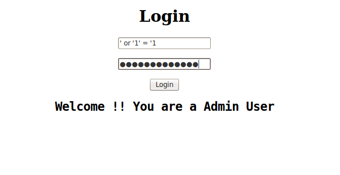 Bypass Login sql injection