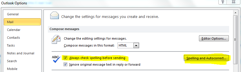 Option for spelling and autocorrect in Outlook 2010