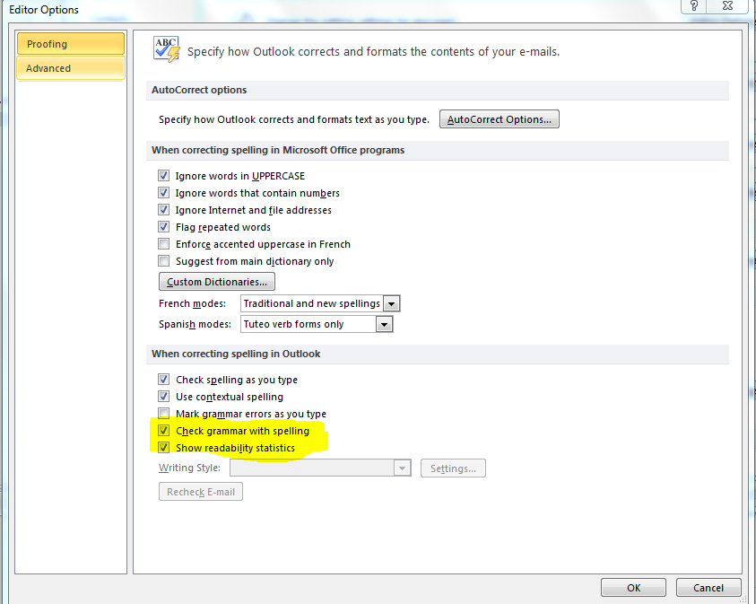 option for readability score in Outlook 2010 under proofing