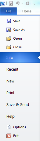 settings to open options menu in MS Word 2010