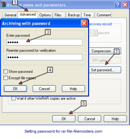 set password in winrar